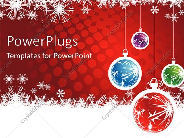 Powerpoint template christmas theme with four red blue green and powerpoint template displaying christmas theme with four red blue green and purple christmas globes toneelgroepblik Choice Image