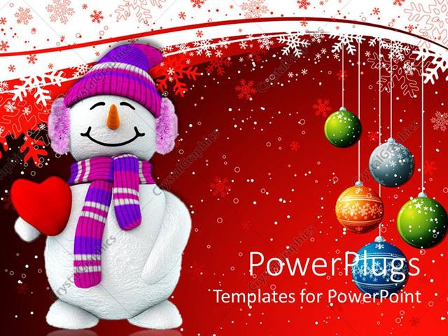 PowerPoint Template Displaying Christmas Theme with Happy Smiling Snowman Holding Red Heart and Christmas Decorations Colorful Balls Snowflakes on