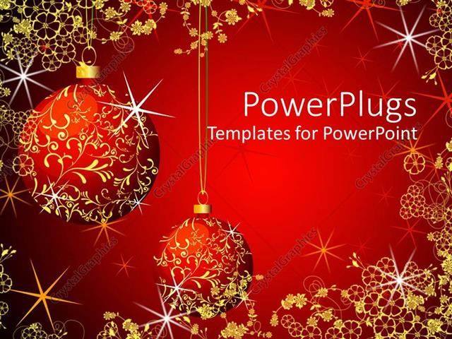 Powerpoint template christmas theme with red and gold glowing powerpoint template displaying christmas theme with red and gold glowing christmas globes on glowing toneelgroepblik Choice Image