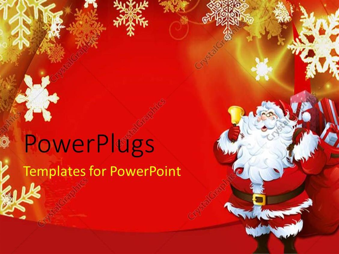 Powerpoint Template Christmas Theme With Santa Claus Ringing Golden