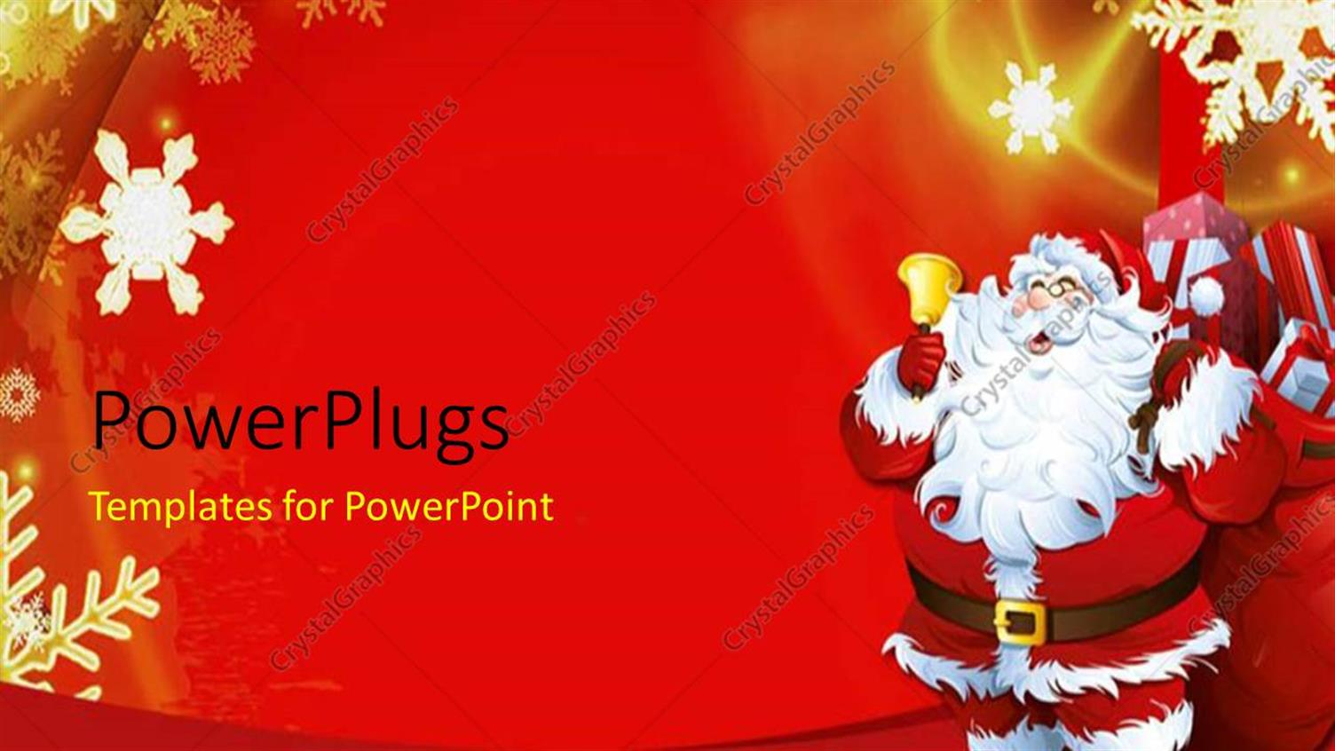 PowerPoint Template Displaying Christmas Theme with Santa Claus Ringing Golden Bell and Snow Flakes