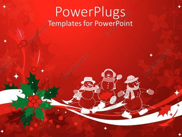 Powerpoint Template Christmas Theme With White Transparent Snowmen
