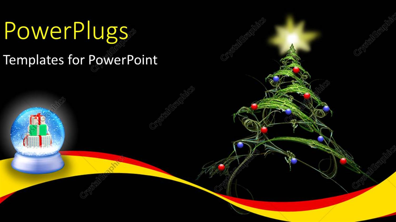 PowerPoint Template Displaying a Christmas Tree with Balls and a Star at the Top of it