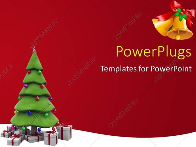 Powerpoint Template The Christmas Tree With Reddish Background 3292