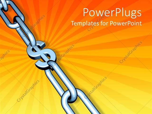 powerpoint template chrome chain on orange background with dollar