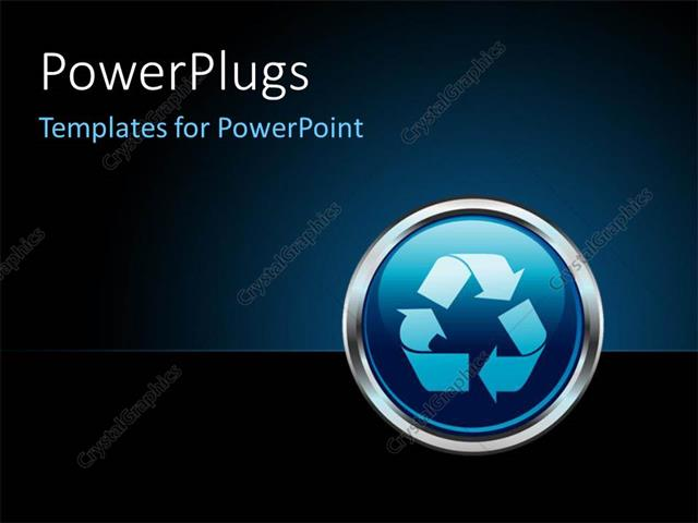 powerpoint template chrome recycle button internet icon with dark