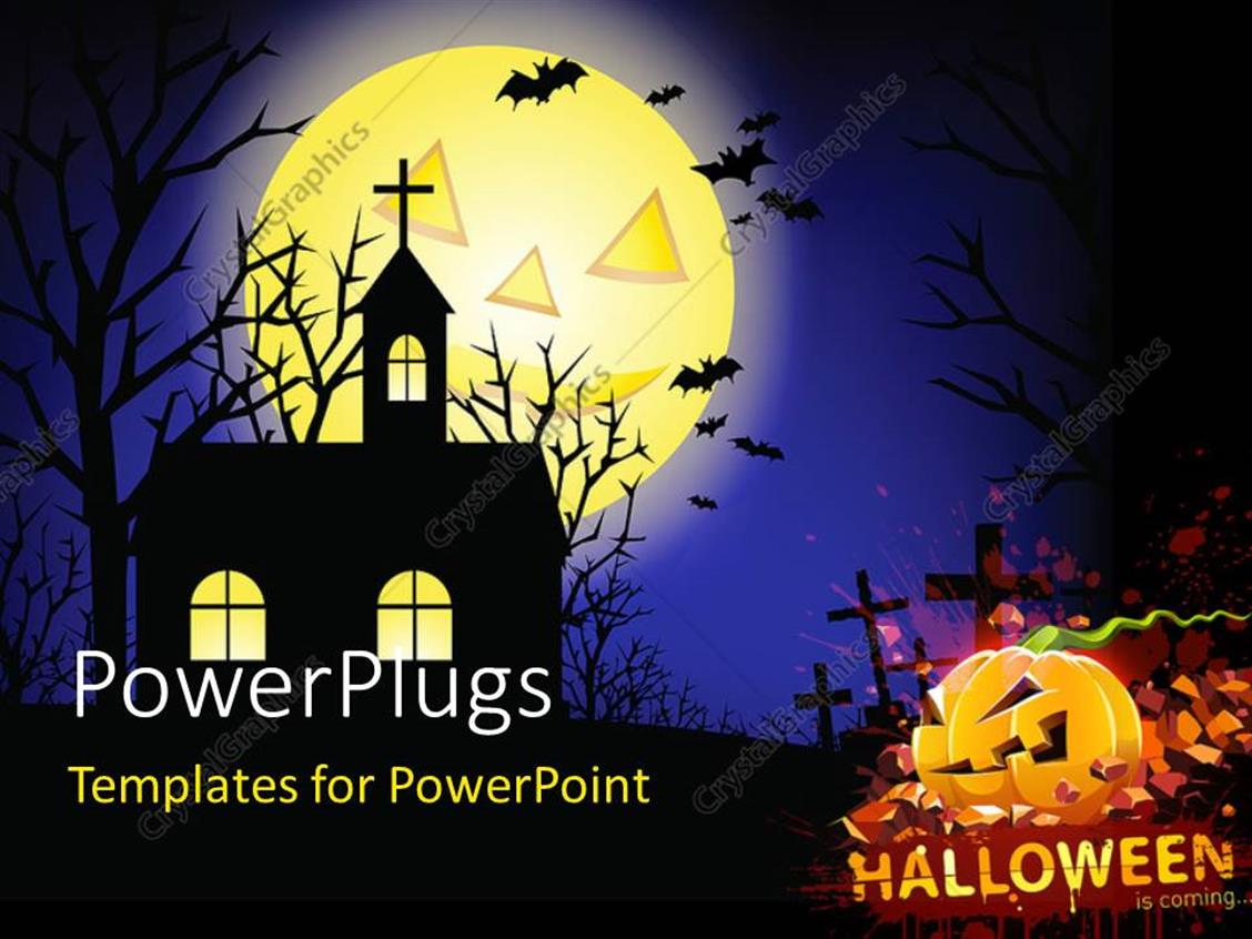 PowerPoint Template Displaying a Church in the Background with a Halloween Pumpkin and Graves