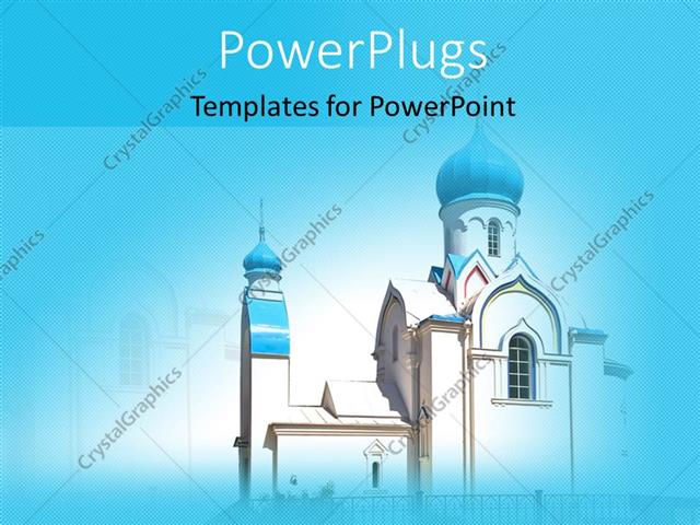 Powerpoint Template A Church With A Bluish Background And Place For