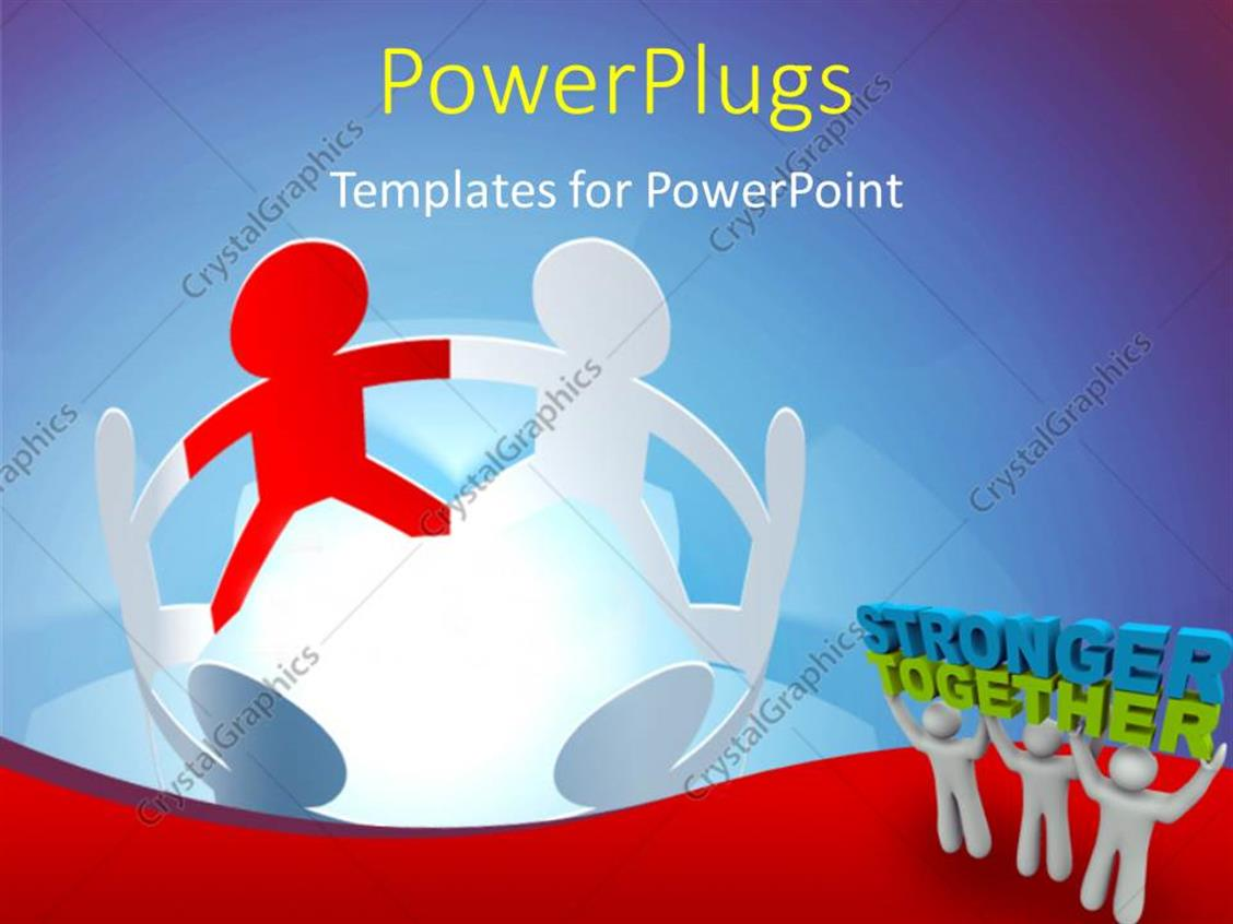 powerpoint template circle of connected paper dolls next