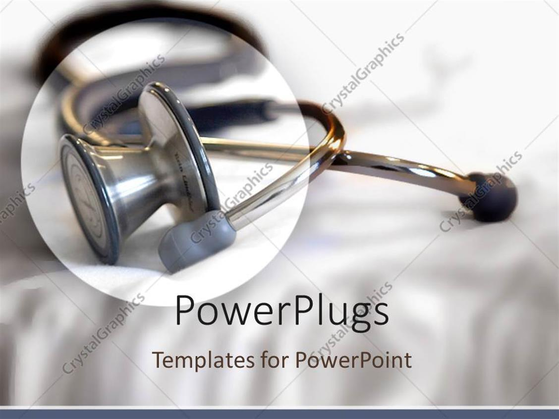 PowerPoint Template Displaying Circled Stethoscope on White Folding Background