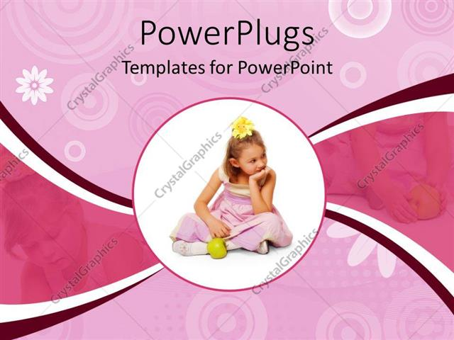 PowerPoint Template Displaying Circular Close Up Depiction of Girl in Pink Dress and Yellow Flower in Hair with Green Apple