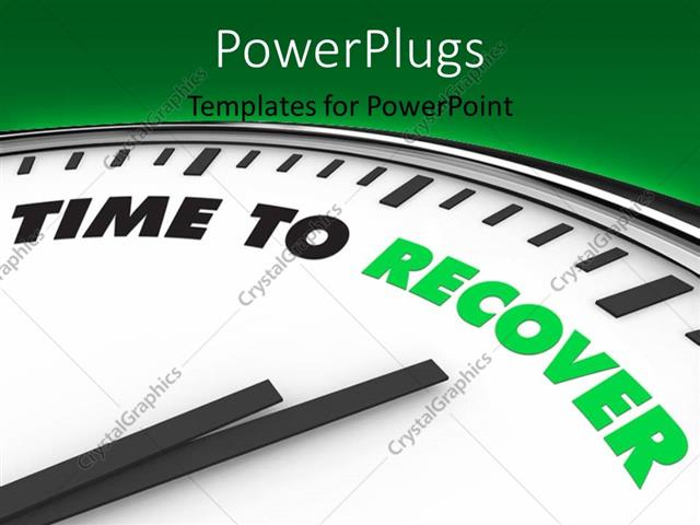 PowerPoint Template Displaying Clock with Clock Hand Set on TIME to RECOVER
