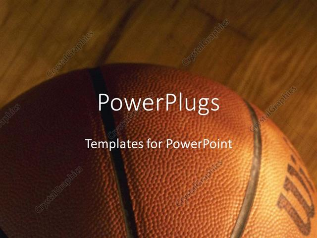 Powerpoint Template CloseUp Of Basket Ball On Wooden Basketball