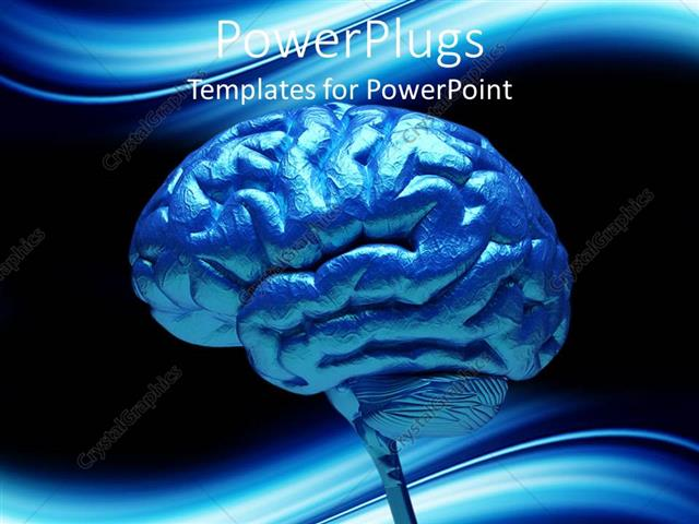 Powerpoint Template Close Up Of Blue Human Brain 3712