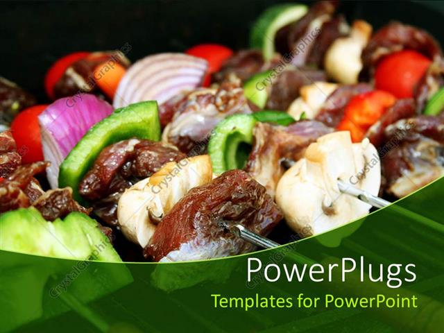 Powerpoint template close up of barbecue sticks with meat and powerpoint template displaying close up of barbecue sticks with meat and vegetables green pepper toneelgroepblik Choice Image