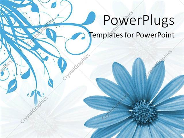 Powerpoint Template Close Up Of Blue Flower And Blue Plant In White
