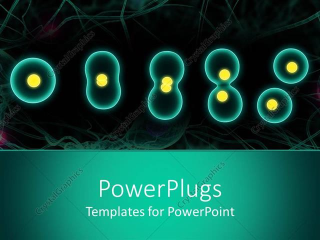Powerpoint Template Close Up Of Cell Division Of Various Shapes And