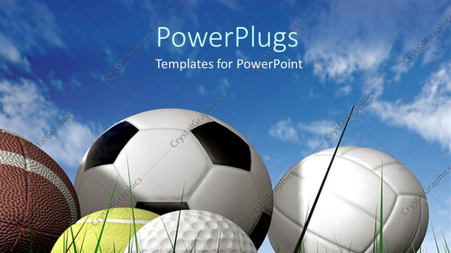 PowerPoint Template Displaying Close Up of Five Sports Balls on Green Grass