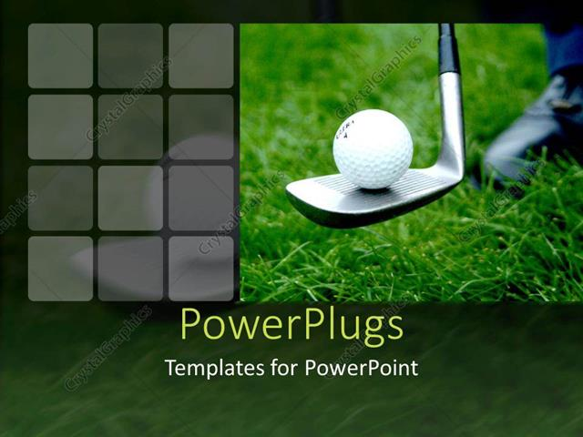 Powerpoint template close up of golf ball on golf club on green powerpoint template displaying close up of golf ball on golf club on green grass toneelgroepblik Gallery