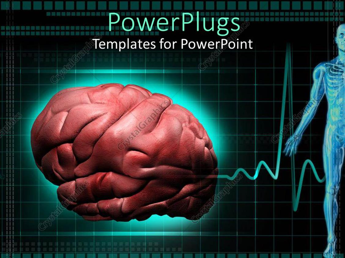 PowerPoint Template: close up of human brain, half of human body ...