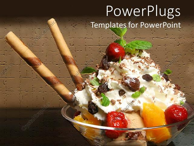 PowerPoint Template Displaying Close Up Ice Cream Sundae with Fruits Leaves and Candy Straws