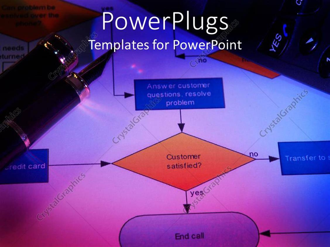 Powerpoint Template Close Up Of Process Flow Chart With Classy Pen Diagram Displaying On Top