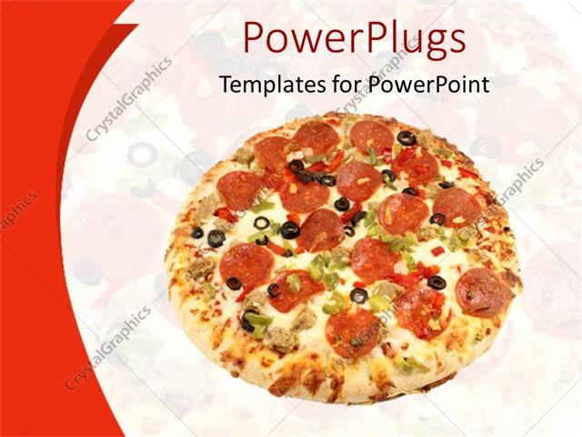 Powerpoint Template Close Up Of Salami Pizza And Pizza Fading In