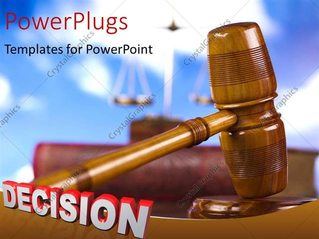 PowerPoint Template Displaying a Close Up View of a Gavel with a Text that Spells Out the Word