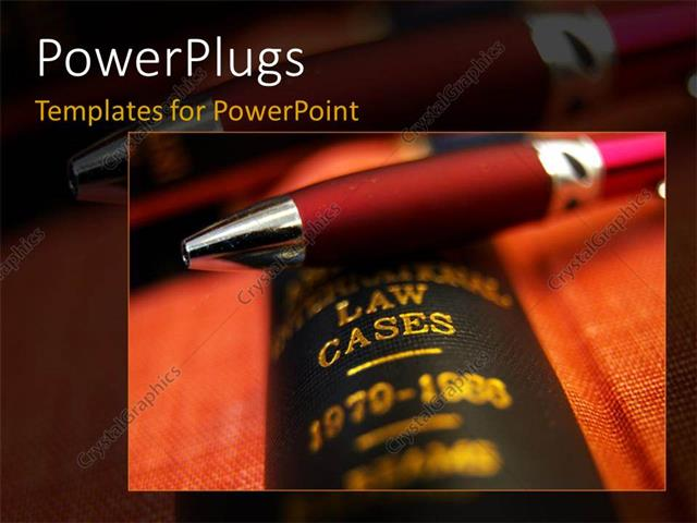 PowerPoint Template Displaying a Close Up View of a Red Pen on a Law Book