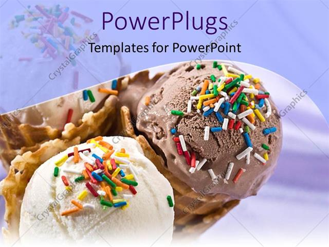 powerpoint template a close up view of three ice cream cones 11954
