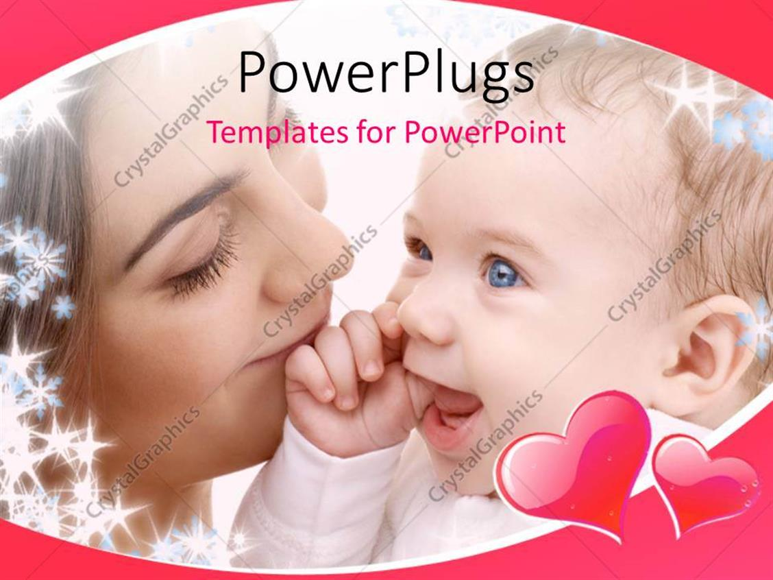 PowerPoint Template Displaying Close Up View of a Woman Holding her Smiling Baby