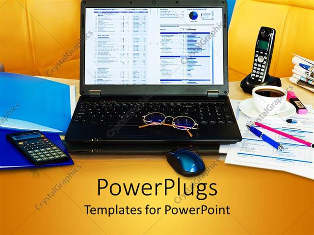 Powerpoint Template Cluttered Office Desk With Laptop Phone