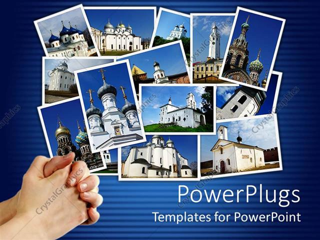 powerpoint template collage of ancient orthodox churches on display