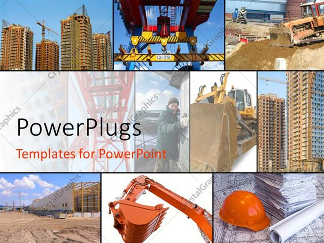powerpoint template collage of construction related scenes