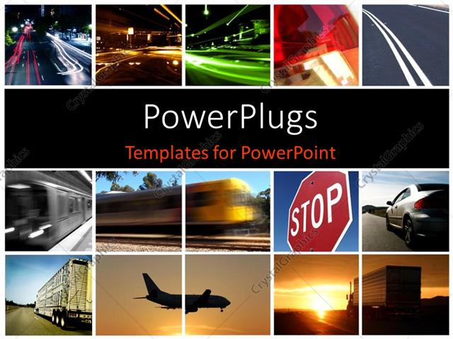 Powerpoint template a collage depicting different modes of powerpoint template displaying a collage depicting different modes of transport toneelgroepblik Choice Image