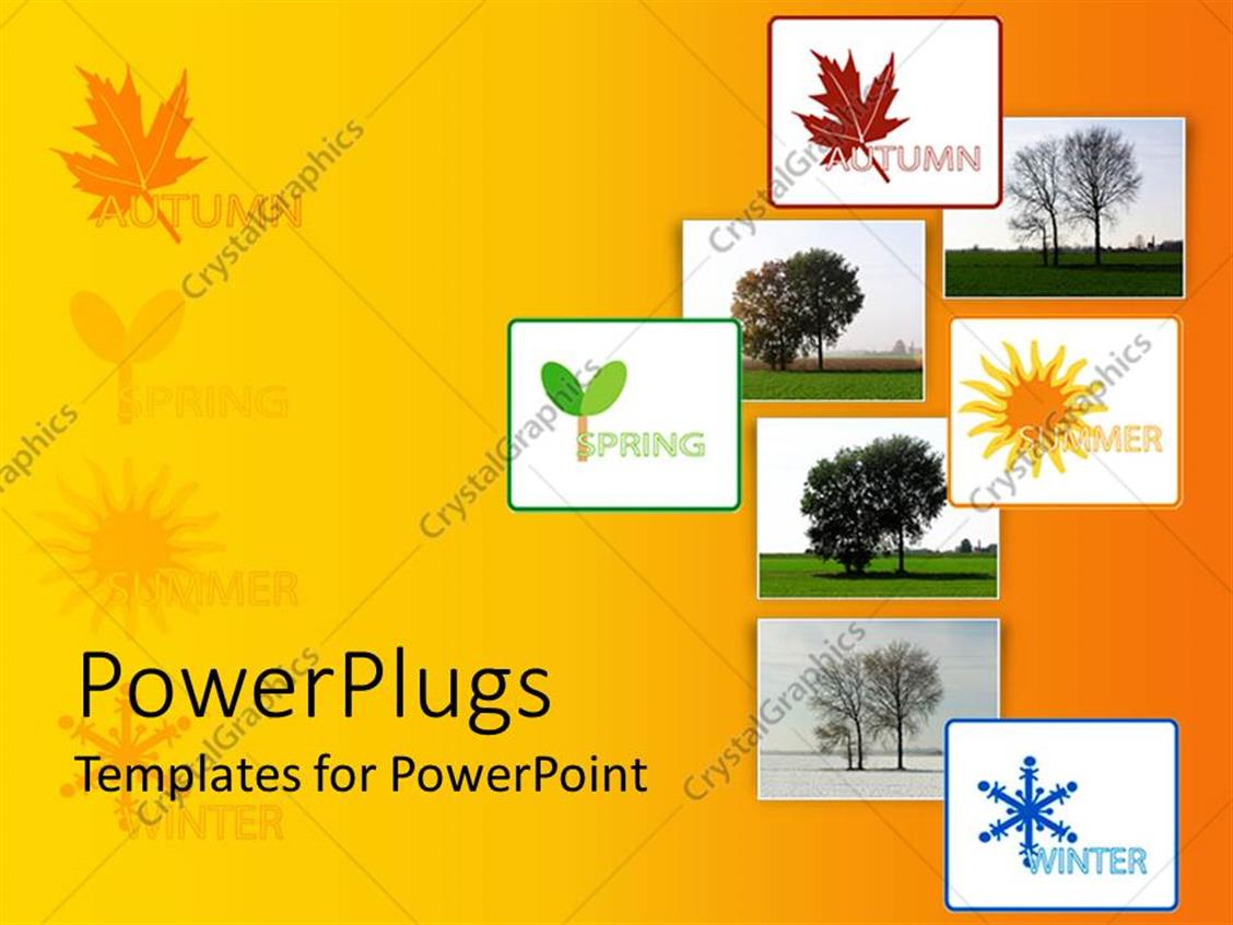 Powerpoint Template Collage With Eight Depiction Of Four Seasons