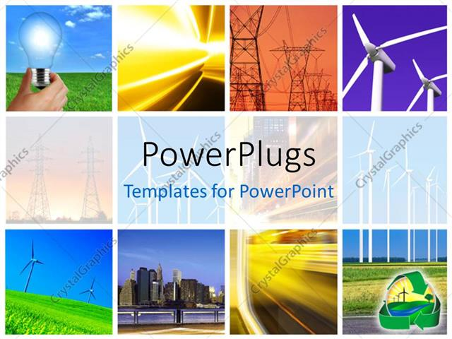 powerpoint template collage of electric power and innovative energy