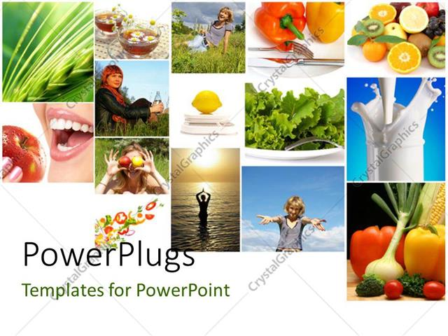 Powerpoint template collage of fresh fruits vegetables milk powerpoint template displaying collage of fresh fruits vegetables milk depicting heathy and fit lifestyle toneelgroepblik Choice Image
