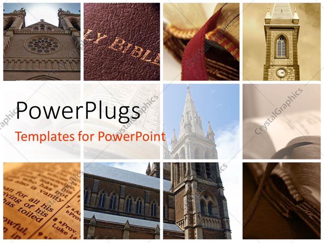 PowerPoint Template Displaying Collage of Religious Buildings and Holy Books
