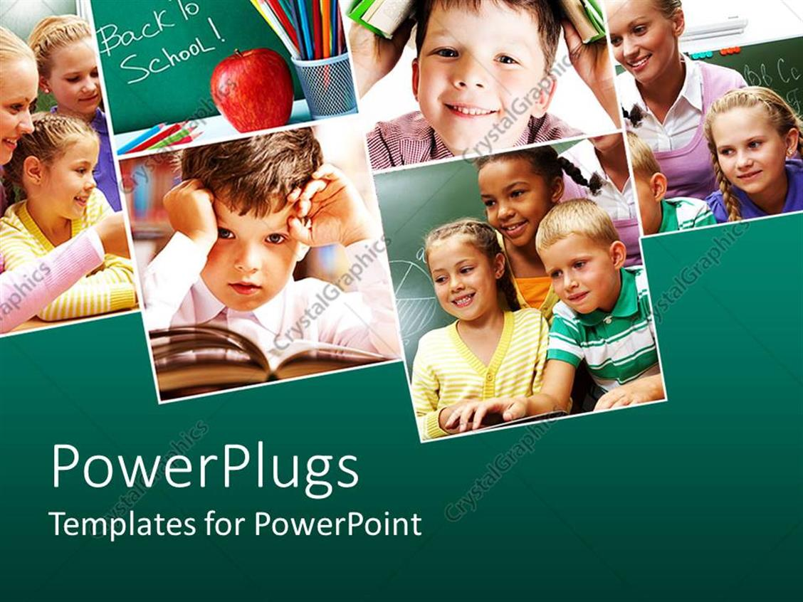 PowerPoint Template Displaying Collage with Six Depictions Related to School and Education with Pupils, Back to School Words on Green Chalkboard, Kid