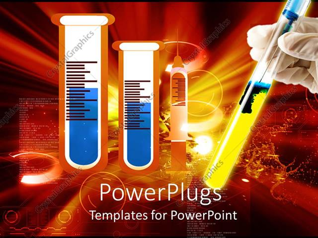 PowerPoint Template Displaying a Collection of Chemicals Along with One Being Held by a Hand