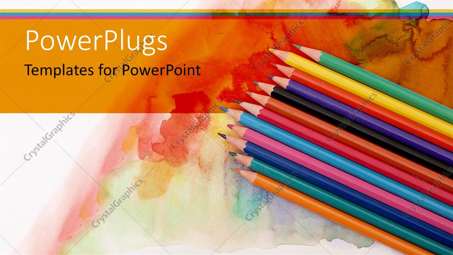 PowerPoint Template Displaying a Collection of Color Pencils with Multi-Colored Background