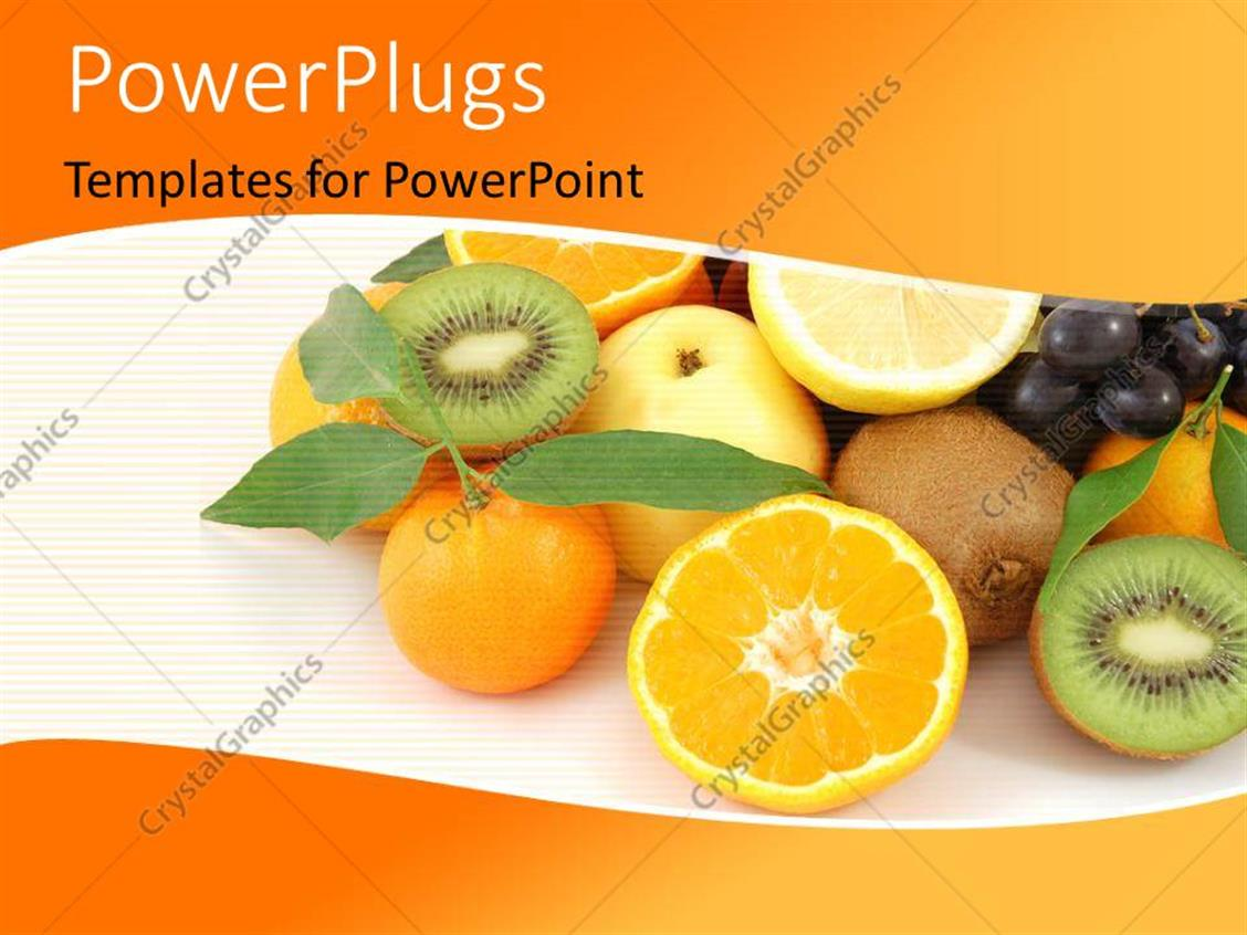 PowerPoint Template Displaying Collection of Fresh and Healthy Fruits Over Orange Color Background