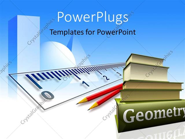 PowerPoint Template: a collection of geometry books with pencils and ...