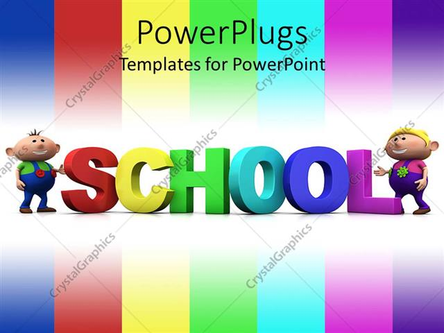 PowerPoint Template Displaying Color Bars with Colored 3D Word with Kids Standing by