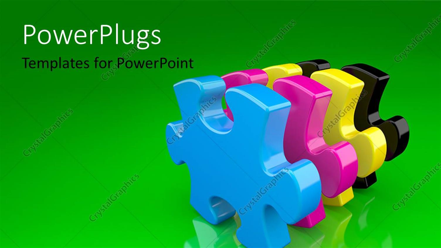 PowerPoint Template Displaying a Numbe Rof Puzzle Pieces with Greenish Background
