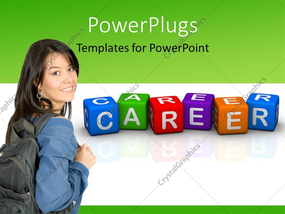 PowerPoint Template Displaying Colored 3D Cubes Forming Word CAREER with Young Lady Carrying Backpack
