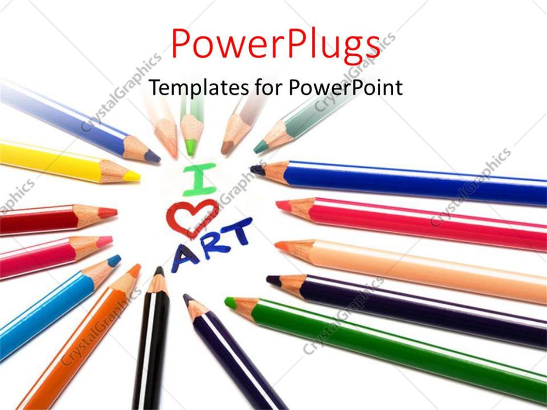 Crayon Colored Circle : Powerpoint template colored crayons arranged in circle