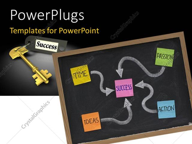 PowerPoint Template Displaying Colored Paper Tags with Success Makeup Over Chalkboard and Gold Success Key