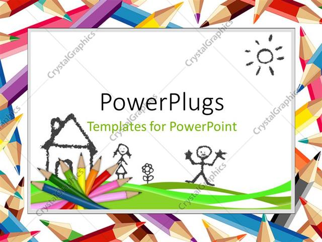 PowerPoint Template: colored pencils and drawings depicting kids ...